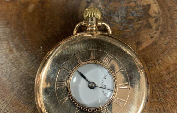 9ct gold Swiss movement Dennison case half hunter pocket watch for sale