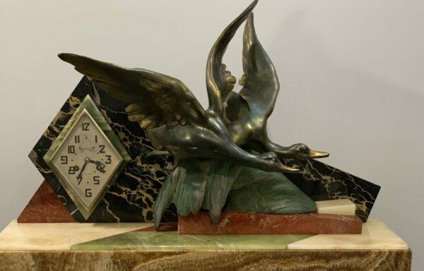 van de voorde art deco mallard ducks clock for sale